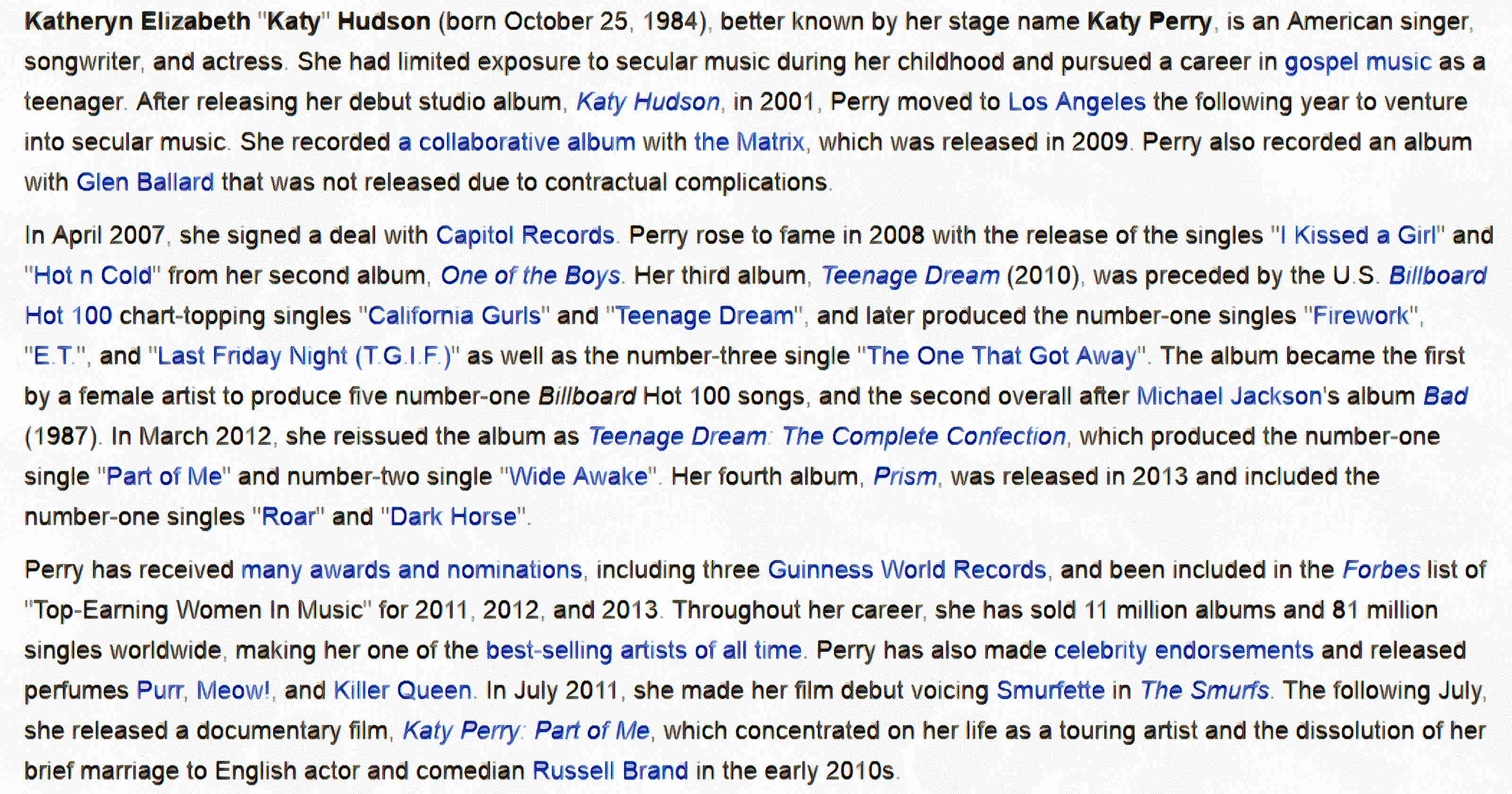 Facts about Katy Perry