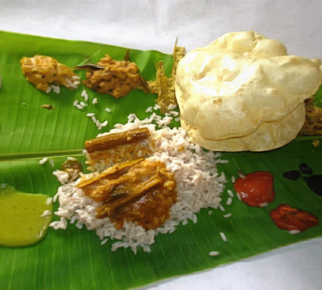Lunch on banana leaf in South India