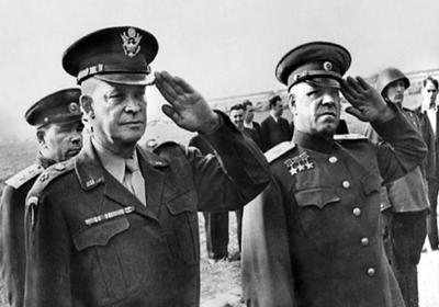 Marshal Zhukov met Dwight D. Eisenhower